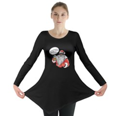 Black Santa Claus Long Sleeve Tunic Dress by CoolDesigns