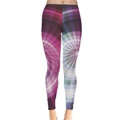 Colorful Neon Lines Design On Dark Women s Leggings by CoolDesigns
