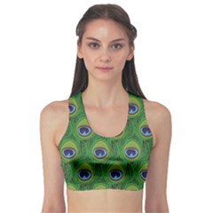 Green Peacock Feathers Women s Sport Bra by CoolDesigns