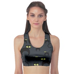 Black Cats Design Pattern Women s Sport Bra by CoolDesigns