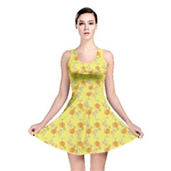 Yellow Pattern Tropical Cocktails Reversible Skater Dress by CoolDesigns
