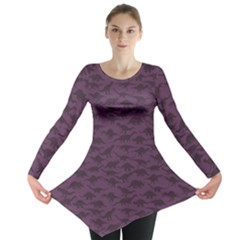 Purple A Pattern With Dinosaur Silhouettes Long Sleeve Tunic Top by CoolDesigns
