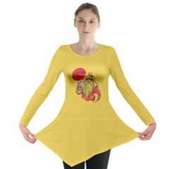 Yellow Pattern Of The Bee On Honeycombs Long Sleeve Tunic Top by CoolDesigns