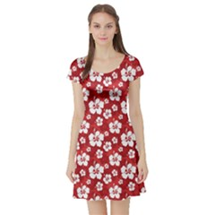 Red Pattern Hibiscus Flowers on Red Short Sleeve Skater Dress by CoolDesigns