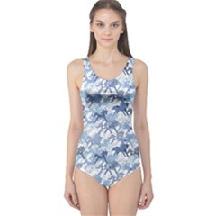 Blue Pattern Horses One Piece Swimsuit by CoolDesigns