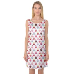 Pink Watercolor Cupcakes Pattern Hand Drawn Sleeveless Satin Nightdress by CoolDesigns