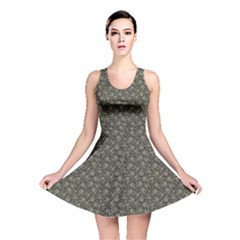 Dark Cannabis Leafs With Skulls Pattern Reversible Skater Dress by CoolDesigns