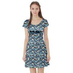Blue Penguin Pattern Abstract Penguin Crystal Ice Short Sleeve Skater Dress by CoolDesigns