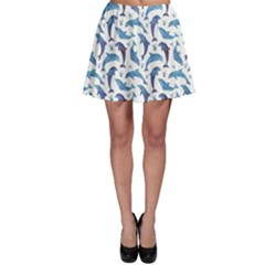 Blue Watercolor Pattern With Dolphins Skater Skirt by CoolDesigns