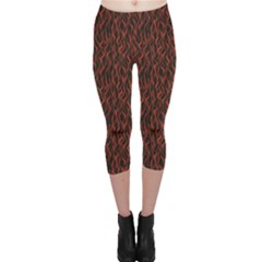 Dark Red Flame Hell Fire Seamless Capri Leggings by CoolDesigns