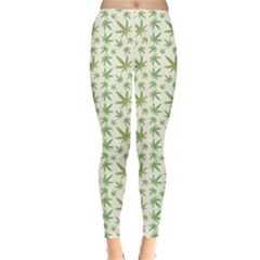 Green Green Cannabis Leaves Pattern Leggings by CoolDesigns