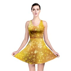 Golden Snow Flake Reversible Skater Dress by CoolDesigns