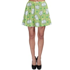 Green Happy Hippo With Friendly Bird Pattern Skater Dress by CoolDesigns