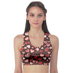 Black Beautiful Love Hearts Pattern Women s Sport Bra by CoolDesigns