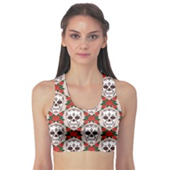 Dark Pattern With Skulls Women s Sport Bra by CoolDesigns