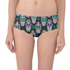 Black Day of the Dead Sugar Skull Mid Waist Bikini Bottom by CoolDesigns