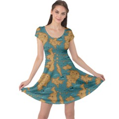 Green Adventure Map Pattern Stylish Design Cap Sleeve Dress by CoolDesigns