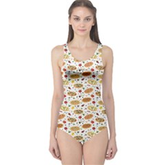 Colorful Pattern With Different Pizza And Spices Women s One Piece Swimsuit by CoolDesigns