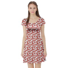 Red Medical Pills Over White Pattern Short Sleeve Skater Dress by CoolDesigns