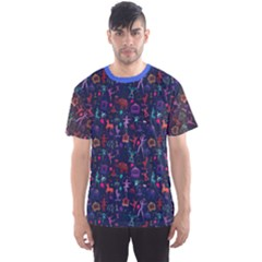 Blue Pattern Colorful Circus Magician Elephant Dancer Men s Sport Mesh Tee by CoolDesigns