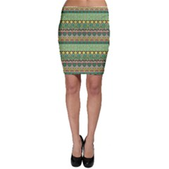 Green Tribal Aztec Pattern With Birds And Flowers Bodycon Skirt by CoolDesigns