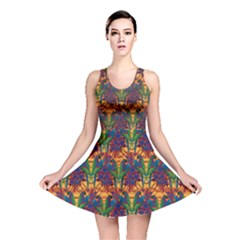 Colorful Pattern With Macaw Parrots Hand Drawn Reversible Skater Dress by CoolDesigns
