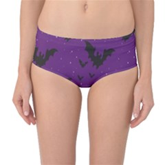 Purple With Halloween Bats And Stars Mid Waist Bikini Bottom by CoolDesigns