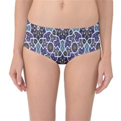 Blue Traditional Morocco Pattern Mid Waist Bikini Bottom by CoolDesigns