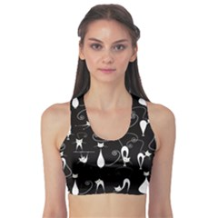 Black White Cats on Black Pattern for Your Design Women s Sport Bra by CoolDesigns