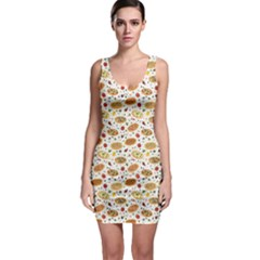 Colorful Pattern With Different Pizza And Spices Bodycon Dress by CoolDesigns