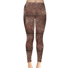 Brown Animal Skin Pattern Of Giraffe Print Leggings by CoolDesigns