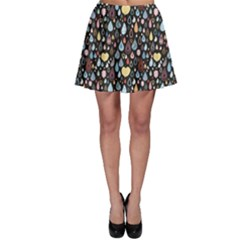 Black Bright Colorful Pattern Of Raindrops Skater Skirt by CoolDesigns
