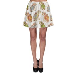 Colorful Indian Elephant Pattern Skater Skirt by CoolDesigns