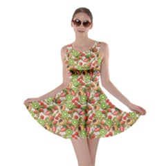 Colorful Pattern With Summer Fruits And Blossom Flowers Skater Dress by CoolDesigns