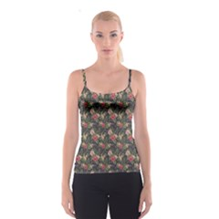 Colorful Tropical Floral Pattern Plumeria Hibiscus Flowers Spathetti Strap Top by CoolDesigns