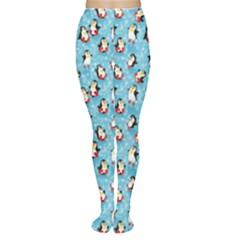 Blue Pattern Funny Penguins Snowflakes On Blue Icy Tights by CoolDesigns