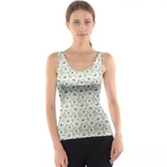Green Decorative Pattern With White Poppies Tank Top by CoolDesigns