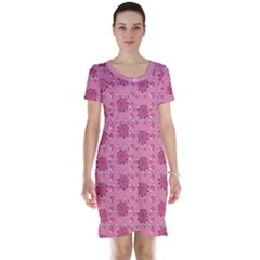 Pink Pattern With Cute Pigs Short Sleeve Nightdress by CoolDesigns