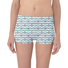 Blue Sailor Tile Pattern with Red Anchor on A White and Blue Boyleg Bikini Bottoms by CoolDesigns