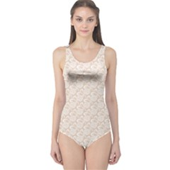Nude White Retro Roses Lace Pattern on Beige One Piece Swimsuit by CoolDesigns