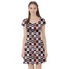 Red Black and White Checkered Pattern Red Hearts Pattern Short Sleeve Skater Dress by CoolDesigns
