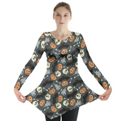 Colorful Halloween Pattern With Pumkins Bats And Skulls Long Sleeve Tunic Top by CoolDesigns