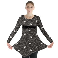 Black Beautiful Musical Pattern Music Notes And Piano Keyboard Long Sleeve Tunic Top by CoolDesigns