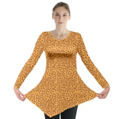 Orange African Style Pattern Long Sleeve Tunic Top by CoolDesigns