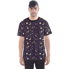 Black A Fun Night Sky The Moon And Stars Men s Sport Mesh Tee by CoolDesigns