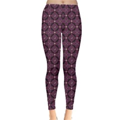 Purple Pattern With Bats And Bones Women s Leggings by CoolDesigns