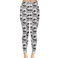 Gray Pattern of Horse Stallions with A Black Silhouetted Women s Leggings by CoolDesigns