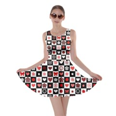 Brown Black and White Checkered Pattern with Red Hearts Seamless Skater Dress by cowcowclothing