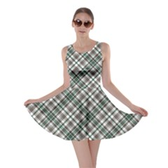 Green Grey and Turquoise Diagonal Pattern Skater Dress by cowcowclothing