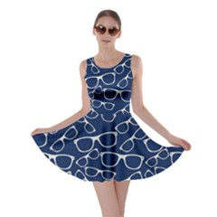 Navy Glasses Skater Dress by cowcowclothing